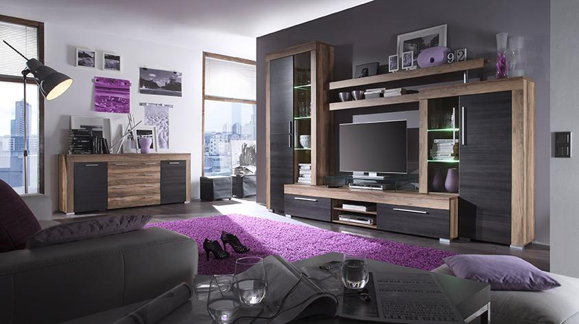 Carryhome stilvolle wohnwand in nussbaumfarben und for Wohnwand dunkelbraun